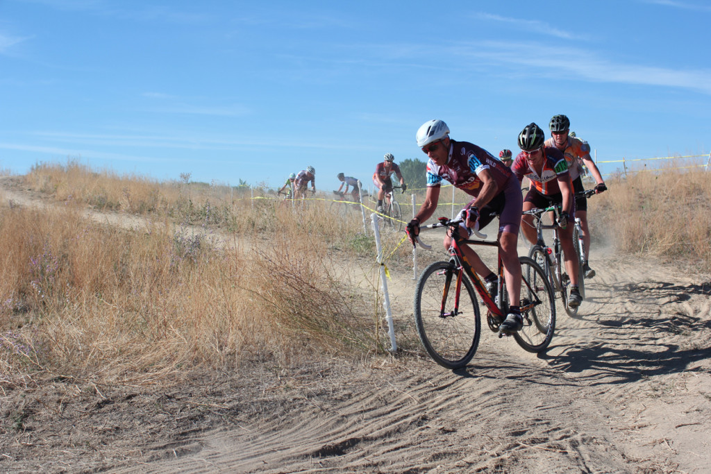 Fritz leads a group with Weston near the back on the first lap of Wafflecross (#1)