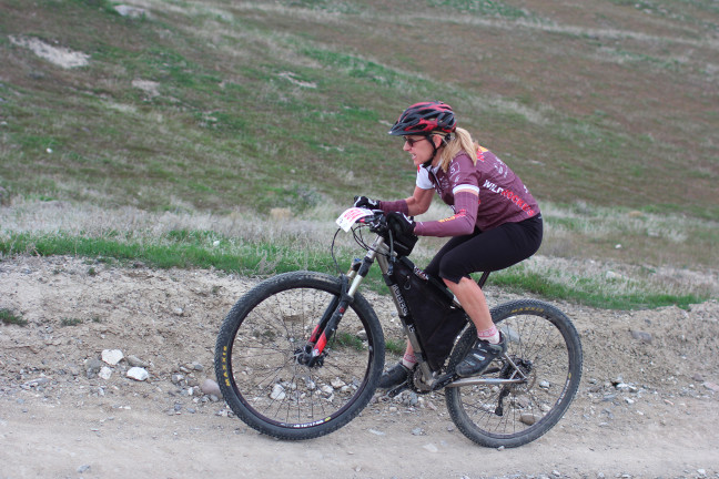 Sharon Sell, beginner XC MtB racer on her way to 1st place, finding she may need to upgrade to find competition