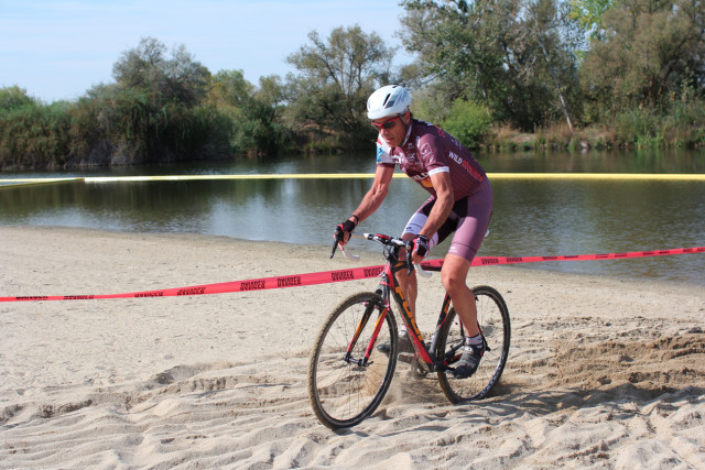 Fritz powers through the finish of the deep sand turn