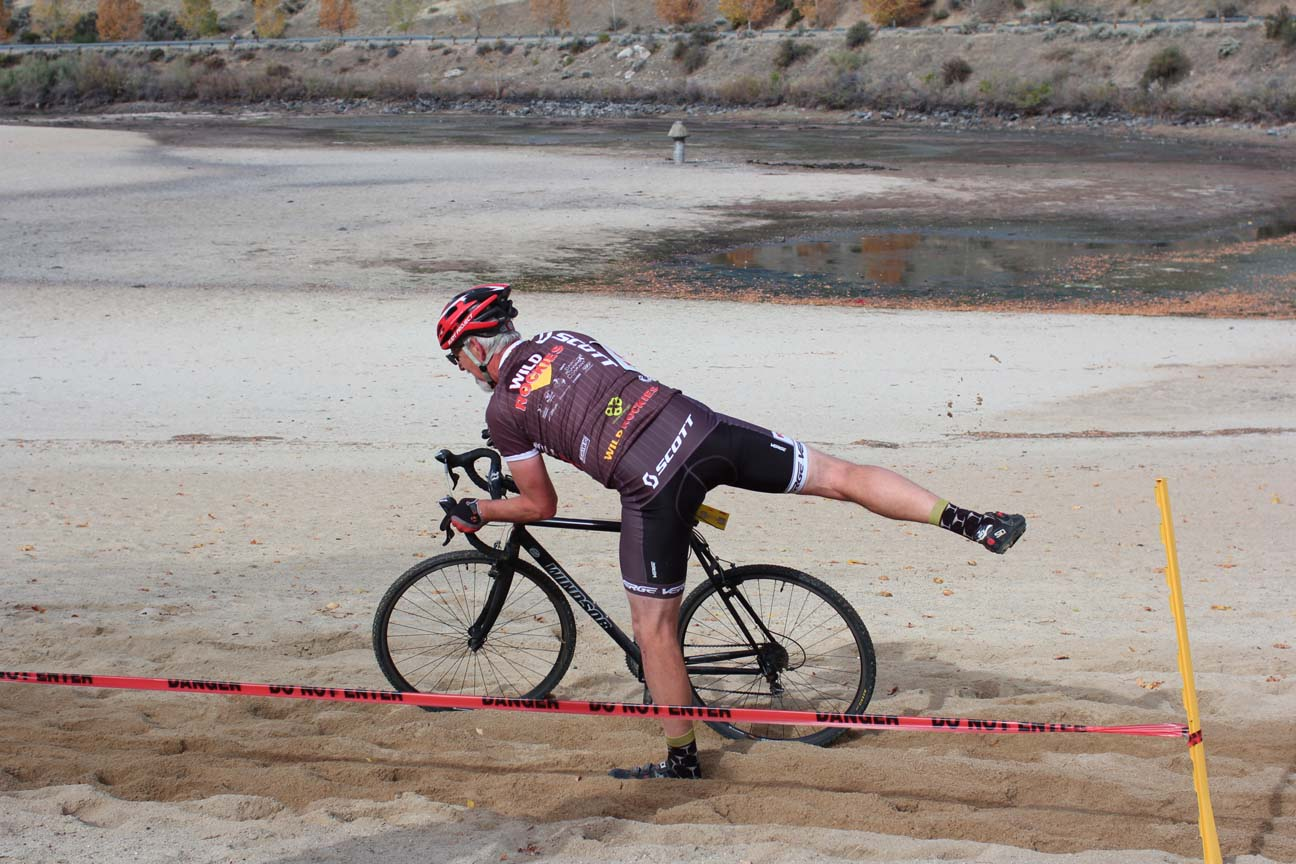 Chris rides down onto the beach and dismounts successfully, but only after coming to a complete stop