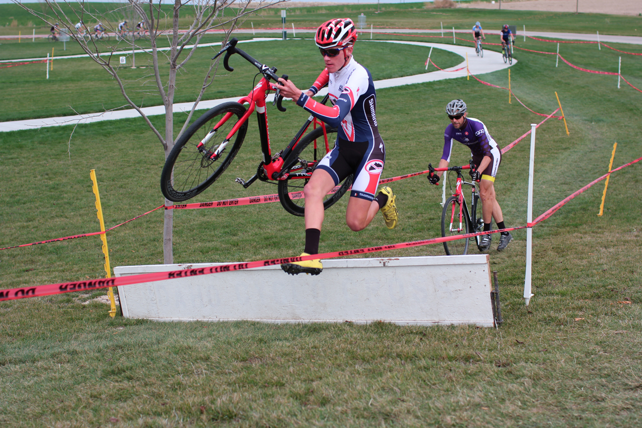 Evan carrying momentum over the difficult (to re-mount) uphill barrier at Mallard Park