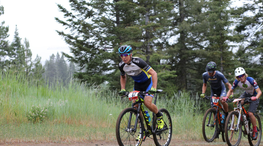 "Jamey Yanik leads Ian Mullens and Eric Chizum up the first ""Bunny Hill"" climb, and takes first place after leading the whole race"