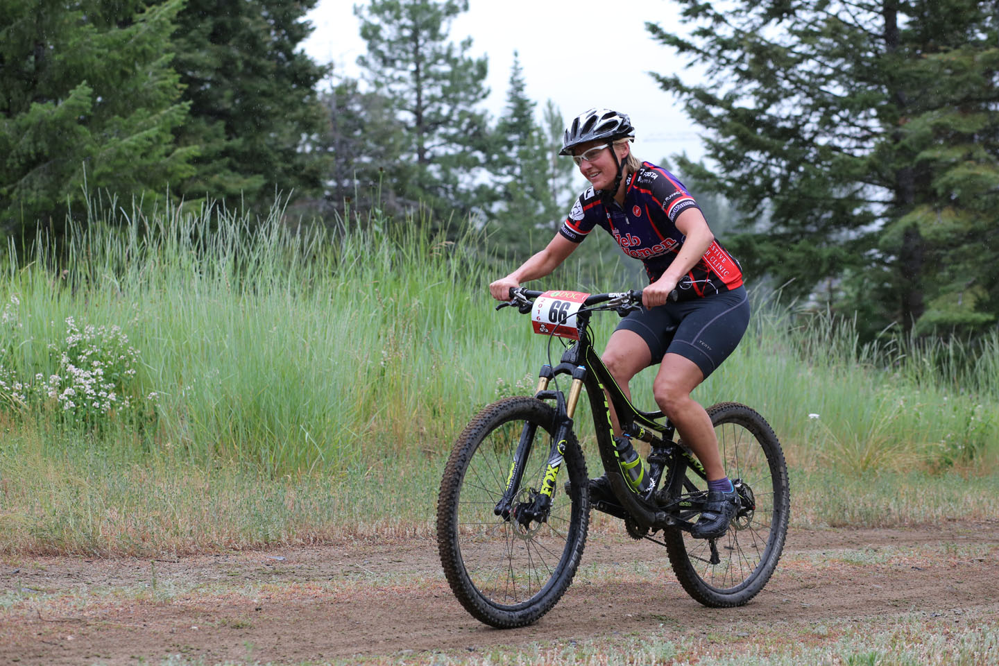 "Joy Adams had race ending flat tire at the top of the first ""Bunny Hill"" climb"